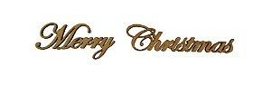 Aplique Em MDF Palavra Merry Christmas 280a Crú Natal 20 cm