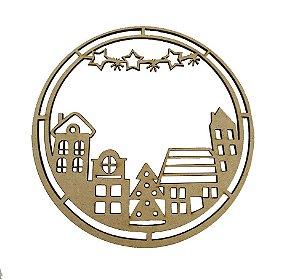 Aplique Em MDF Mandala Casinhas Crú Natal 10 cm