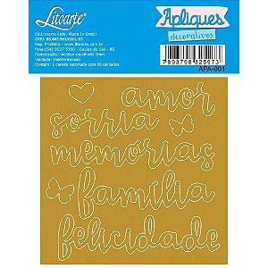 Aplique Acrílico Dourado - Palavras: Amor, Sorria, Memórias, Família - APA-001