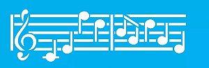 Stencil OPA Simples 10 x 30 cm 704 Notas Musicais II