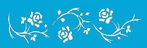 Stencil OPA Simples 10 x 30 cm 339 Flores Rosas