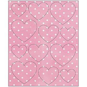 Apliques MDF Pintada Destacáveis Coração Rosa - MRLC-001