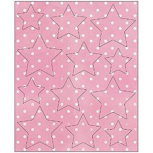 Apliques MDF Pintada Destacáveis Estrela Rosa - MRLC-003