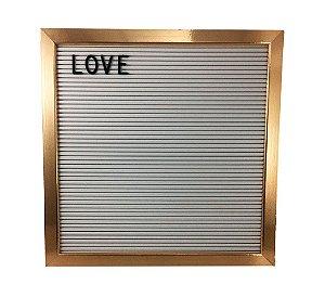 Quadro Letter Board Letreiro 188 Letras - Branco/Dourado