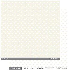 Papel Scrapbook - Scrap By Antonio Linha Básica Soft Marfim Coração 200430