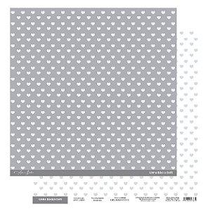 Papel Scrapbook - Scrap By Antonio Linha Básica Soft Cinza Coração 200417