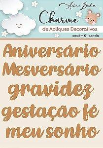 Charme de Apliques Decorativos MDF Baby Palavras