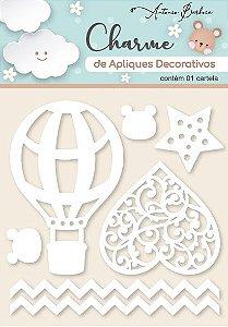 Charme Apliques Acrílico Decorativos Elementos Baby Branco