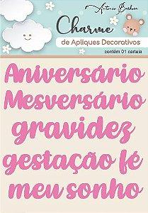 Charme De Apliques Acrílico Decorativos Palavras Baby Rosa