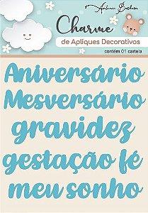 Charme De Apliques Acrílico Decorativos Palavras Baby Azul