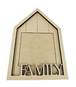 Porta Retrato MDF Casinha Family Suporte Para Mesa Decoração