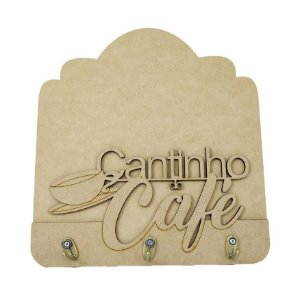 Placa Porta Xícara MDF Cantinho do Café 3 Ganchos Metal