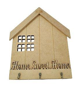 Placa Porta Chaves Home Sweet Home MDF Com 3 Ganchos Metal