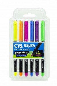 Caneta Pincel Brush Aquarelável Cis Kit Com 6 Cores Neon