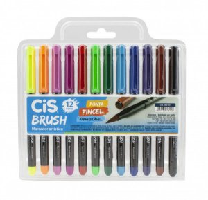 Caneta Pincel Brush Aquarelável Cis Kit Com 12 Cores