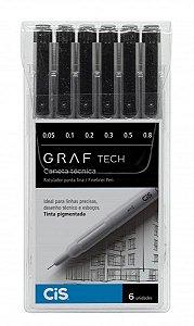 Caneta Graf Tech Cis Kit Com 6 Unidades Fineliner Pigmentada