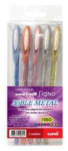 Caneta Tinta Gel Noble Metal 0.8mm Kit Com 5 Cores Metálica