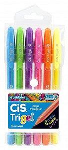 Caneta Gel Trigel Cis Kit 6 Cores Neon Triangular 1.0 mm