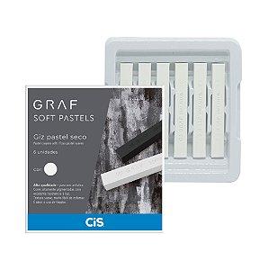 Gis Pastel Seco Graf Soft Pastels Branco - 6 Unidades