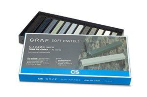Gis Pastel Seco Graf Soft Pastels Tons Cinza - 12 Cores
