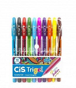 Caneta Gel Trigel Cis Kit 10 Cores Fashion Sortidas 1.0 mm