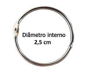 Kit com 10 Argolas Articulada Prata 2,5 cm P/ Encadernação