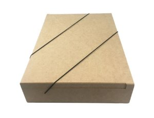 Caixa Pasta Articulada Com Elástico G De MDF Documentos