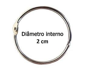 Kit com 10 Argolas Articulada Prata 2 cm P/ Encadernação