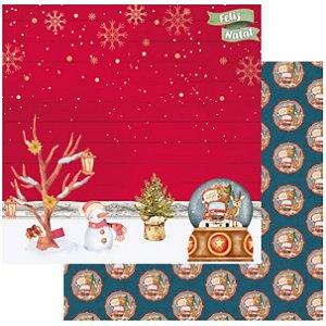 Papel Scrapbook - Scrap By Antonio - Meu Natal Colorido 200551 - Paisagem Natalina