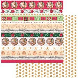 Papel Scrapbook - Scrap By Antonio - Meu Natal Colorido 200555 - Faixas de Natal