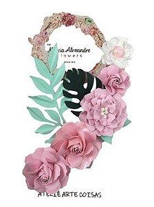 Flores de Papel P/Scrapbook Licor De Rosas Carmela