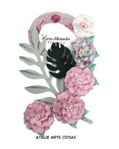 Flores de Papel P/Scrapbook Licor De Rosas Julia
