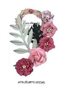 Flores de Papel P/Scrapbook Licor Rosas C/ Morango Antonella