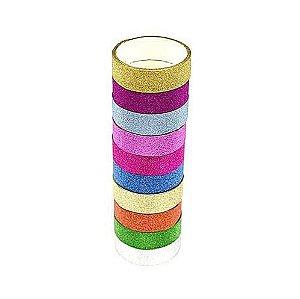 Fita Adesiva Decorativa Gliter Washi Tape Scrapbook 10 Un