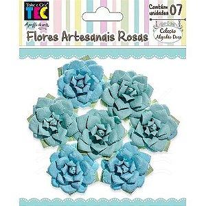 Flores Artesanais Rosas Azuis Coleção Algodão Doce