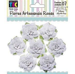 Flores Artesanais Rosas Brancas Coleção Algodão Doce