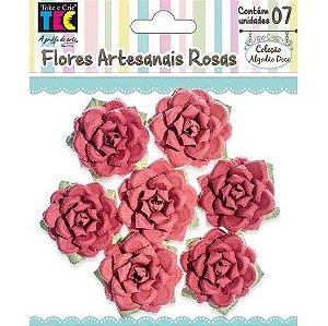 Flores Artesanais Rosas Vermelhas Coleção Algodão Doce