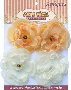 Flor Em Tecido FL-009 Com 4 Unidades Arte Fácil