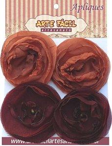 Flor Em Tecido FL-008 Com 4 Unidades Arte Fácil