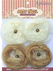 Flor Em Tecido FL-005 Com 4 Unidades Arte Fácil