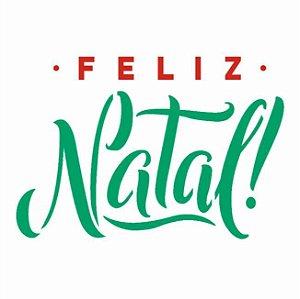 Stencil 14X14 Simples – Frase Feliz Natal  – OPA 3010