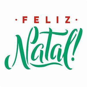 Stencil 10X10 Frase Feliz Natal - Opa 3018
