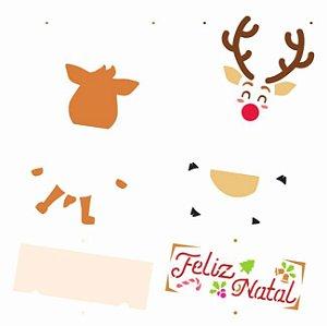 Stencil Simples 30,5 x 30,5 Rena Feliz Natal  - Opa 3006