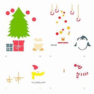 Stencil Simples 30,5 x 30,5 Árvore Natal Pinguim  - Opa 3008