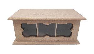 Caixa De Chá Vazada MDF 3 Divisórias Com Vidro e Dobradiça