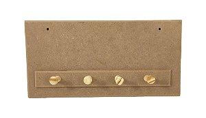 Porta Chaves Simples Liso 4 Pinos Chaveiro em MDF