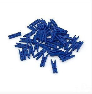 Kit Mini Prendedor Pregador Madeira 2,5cm Azul Escuro 100 Un