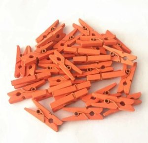 Kit Mini Prendedor Pregador Madeira 2,5 cm Laranja 100 Un