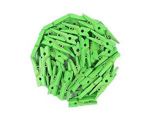 Kit Mini Prendedor Pregador Madeira 2,5 cm Verde 100 Un