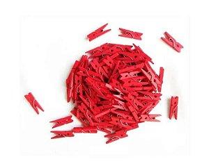 Kit Mini Prendedor Pregador Madeira 2,5 cm Vermelho 100 Un
